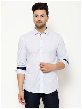 EPPE Men White Solid Slim Fit Casual Shirt