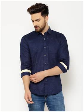 EPPE Men Navy Blue Printed Slim Fit Casual Shirt