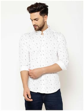 EPPE Men White Printed Slim Fit Casual Shirt