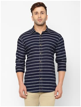 EPPE Men Blue Horizontal Stripes Slim Fit Casual Shirt