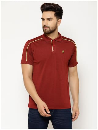 EPPE Men Maroon Regular fit Polyester Polo collar T-Shirt - Pack Of 1