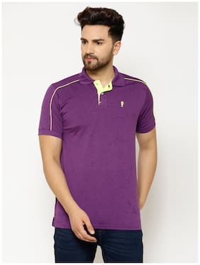 EPPE Men Purple Regular fit Polyester Polo collar T-Shirt - Pack Of 1