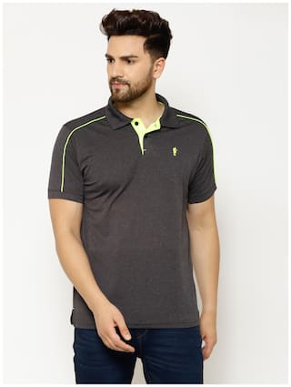 EPPE Men Grey Regular fit Polyester Polo collar T-Shirt - Pack Of 1