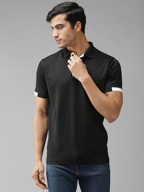 EPPE Men Black Regular fit Polyester Polo collar T-Shirt - Pack Of 1