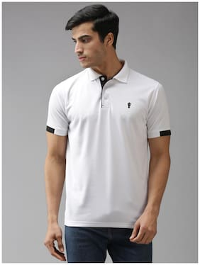 EPPE Men White Regular fit Polyester Polo collar T-Shirt - Pack Of 1