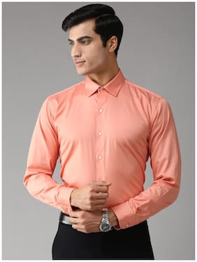 EPPE Men Orange Solid Slim Fit Casual Shirt