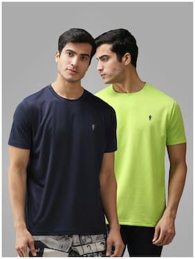 EPPE Men Blue & Green Regular fit Polyester Round neck T-Shirt - Pack Of 2