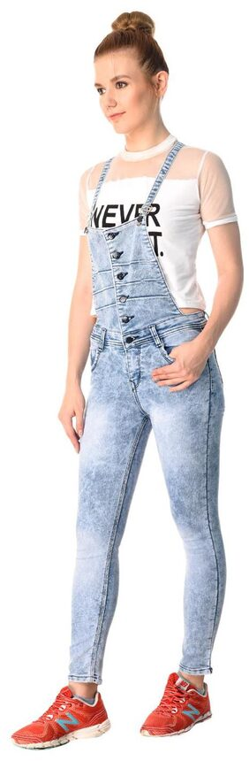 ESSENCE JEANS Solid Dungaree - Blue