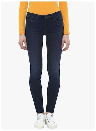 Estrolo Criss-Cross Lattice Denim Ankle Length Skinny Fit Women's Jeans