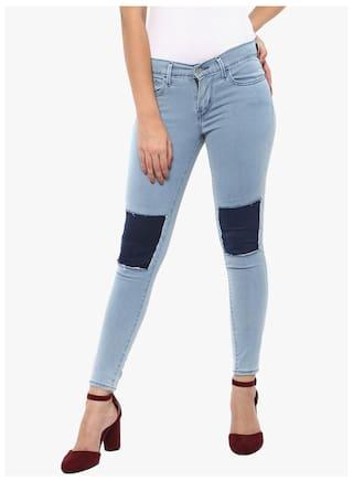 Estrolo Cut & Patched Contrast Fabric Light Blue Women's Jeans