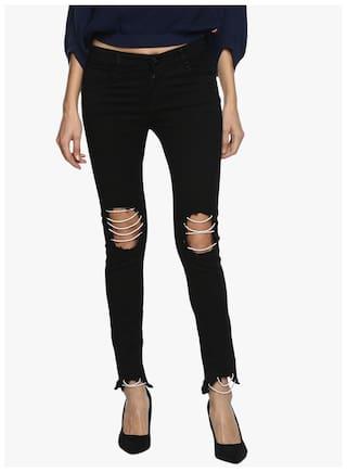 Estrolo Knee & Bottom Pearl Layering Black Women's Jeans