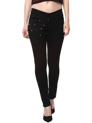 Estrolo Detailled Black Pocket Jeans Women's Golden Beads With zBxF5rzpnq