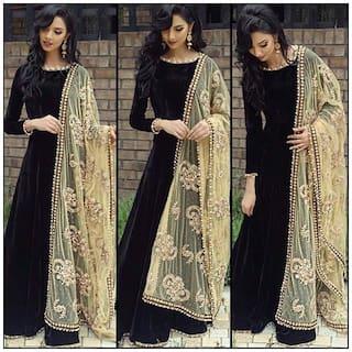 Ethnic Diwa New Arrival designer black embroidered silk Anarkali suit