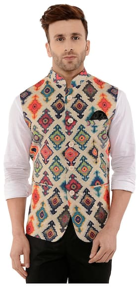 Hangup Off White Printed Party Wear Ethnic Jacket