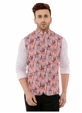 Hangup Mens Off White Printed Party Wear Ethnic Jacket