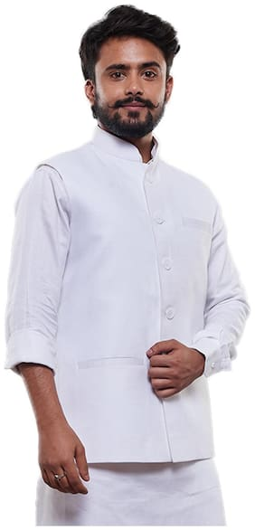 VASTRAMAY Men White Solid Regular Fit Ethnic Jacket