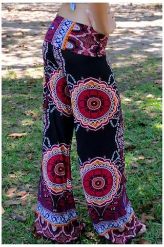 For Style Elastic Floral Ethnic Exumas Women Pants Waist Print 0z4dwFqx