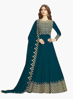Ethnic Yard Turquoise Georgette Embroidered Anarkali Semi-Stitched Salwar Suit With Dupatta