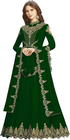 Ethnic Yard Green Georgetee Embroidered Semi Stitched Salwar Suit