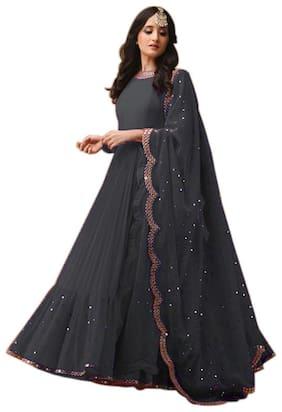 Ethnic Yard Grey Embroidered Georgette Anarkali Salwar Suit With Dupatta