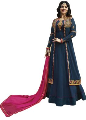 ETHNIC YARD Georgette Regular Floral Gown - Blue