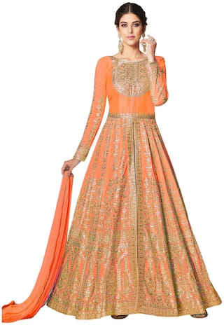 Ethnic Yard Orange Embroidered Malbari Silk Anarkali Semi-Stitched Salwar Suit With Dupatta