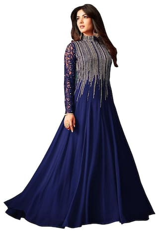 ETHNIC YARD Georgette Comfort Solid Gown - Blue