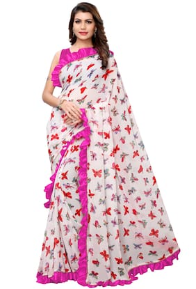 Ethnic Yard Georgette White & Pink Printed Saree With Blouse