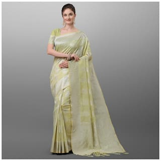 Ethnic Yard Green Polyester Woven Saree For Women