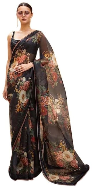 ETHNIC YARD Organza Silk Printed Black Saree With Unstitched Blouse