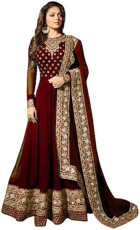 Ethnic Yard Women Georgette Dress Material Maroon