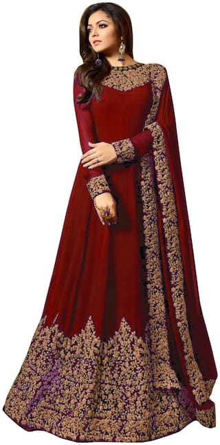 Ethnic Yard Faux Georgette Red Anarkali Salwar Suit With Dupatta