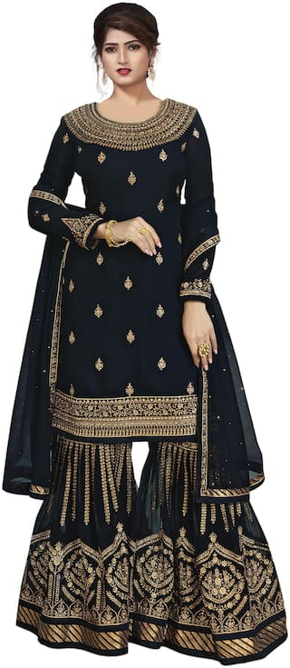 Ethnic Yard Embroidered Poly Georgette Straight Semi-Stitched Sharara Suit With Dupatta Navy Blue