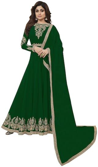 Ethnic Yard Green Georgetee  Semi Stitched Salwar Suit With Dupatta