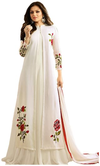 Ethnic Yard Designer Latest Faux Georgette Embroidred Indo-Western