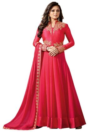 ETHNIC YARD Georgette Solid Dress Material - Red
