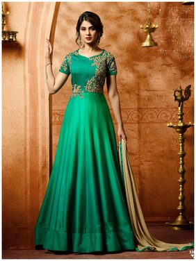 ETHNIC YARD Silk Regular Floral Gown - Green