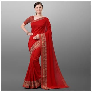 Ethnic Yard Red Polyester Solid Saree For Women