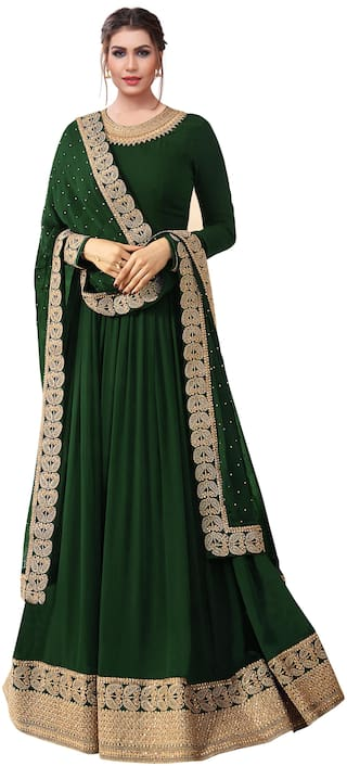 Ethnic Yard Faux Georgette Green Semi-Stitched Anarkali Salwar Suits With Dupatta