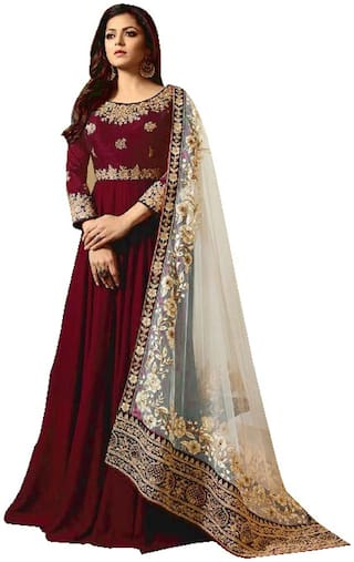 Ethnic Yard Faux Georgette Red Anarkali Semi-Stitched Salwar Suits With Dupatta