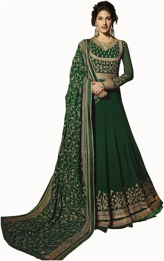 Ethnic Yard Green Georgette Embroidered Anarkali Semi-Stitched Salwar Suit With Dupatta