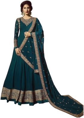 Ethnic Yard Georgette  Turquoise Embroidery Anarkali Semi-Stitched Salwar Suit