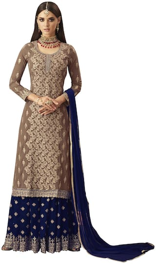 Ethnic Yard Georgette Semi Stitched Dress Material Beige;Blue Color