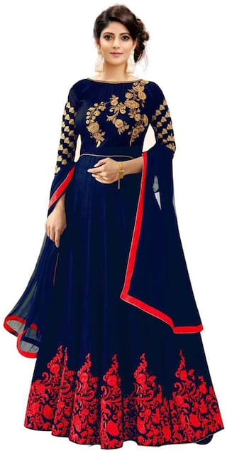 ETHNIC YARD Silk Embroidered Semi Stitched Anarkali Gown With  Dupatta Color  Blue