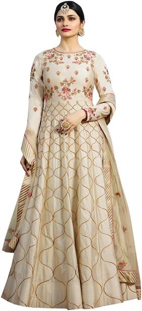 ETHNIC YARD Silk Regular Floral Gown - Beige