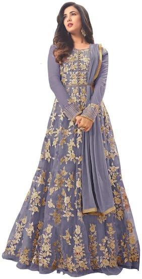 ETHNIC YARD Net Regular Floral Gown - Grey