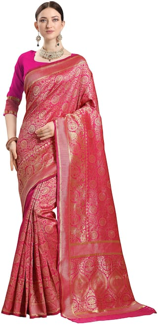 Ethnic Yard Women Zari Work Party Wear Saree With Unstiched Blouse -Pink