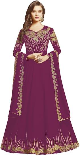 Ethnic Yard Purple Georgette Embroidered Anarkali Semi-Stitched Salwar Suit With Dupatta