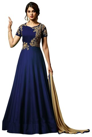 ETHNIC YARD Silk Comfort Solid Gown - Blue