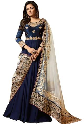 135b40c114f Buy Ethnic Yard Blue Faux Georgette Semi-Stitched Anarkali Gown ...